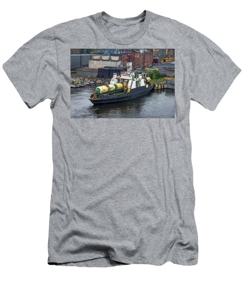 Men's T-Shirt (Athletic Fit) featuring the photograph A Train Ferry In St Petersburg Carrying Freight by Clare Bambers