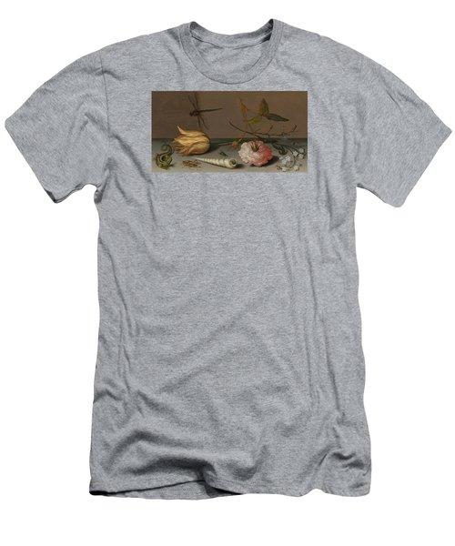 A Tulip, A Carnation, Spray Of Forget-me-nots, With A Shell, A Lizard And A Grasshopper, On A Ledge Men's T-Shirt (Athletic Fit)