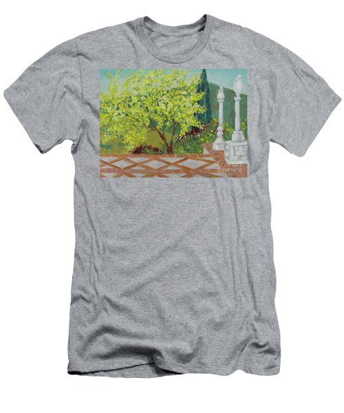 Men's T-Shirt (Athletic Fit) featuring the painting A View From Hearst Castle by Maria Langgle