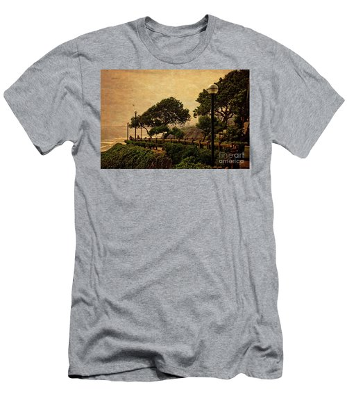 Men's T-Shirt (Slim Fit) featuring the photograph A Walk On The Edge - Peru by Mary Machare