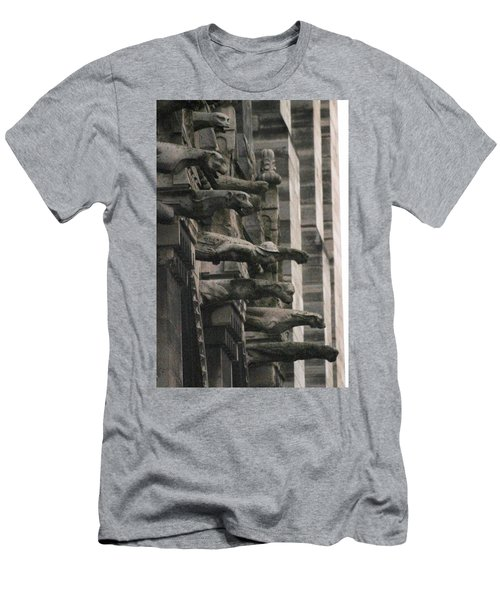 A Wall Of Gargoyles Notre Dame Cathedral Men's T-Shirt (Slim Fit) by Christopher Kirby