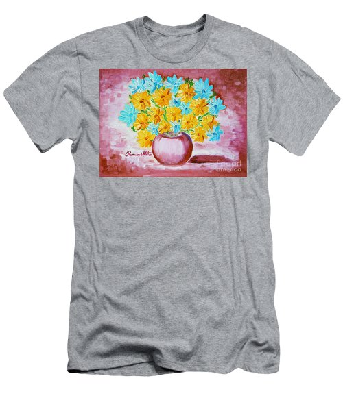 Men's T-Shirt (Slim Fit) featuring the painting A Whole Bunch Of Daisies by Ramona Matei