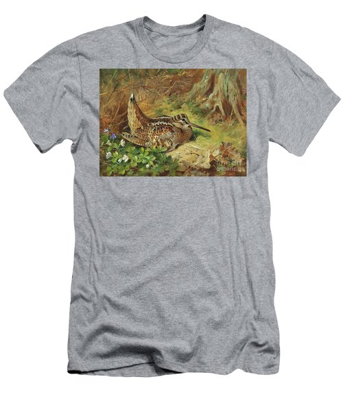 A Woodcock And Chicks Men's T-Shirt (Slim Fit) by Archibald Thorburn