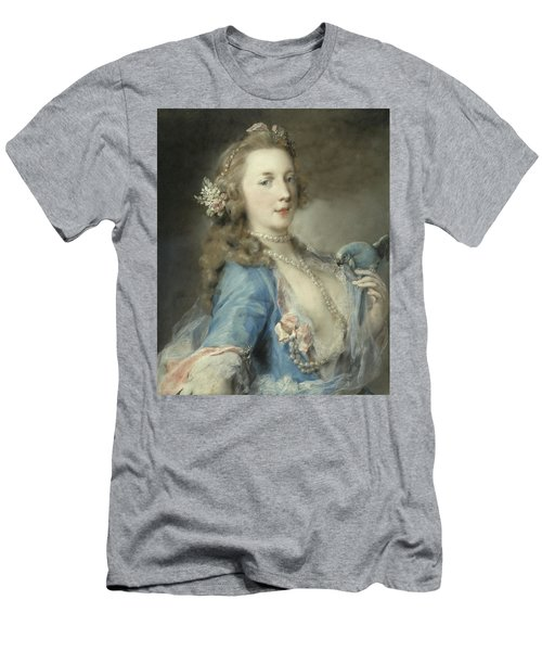 A Young Lady With A Parrot Men's T-Shirt (Athletic Fit)