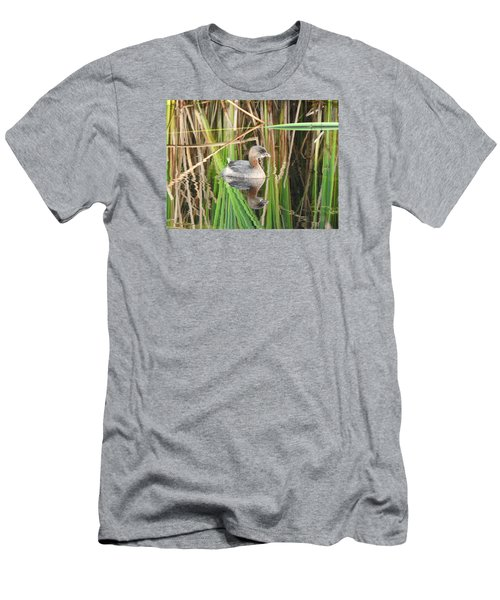 Men's T-Shirt (Slim Fit) featuring the photograph A Young Pied-billed Grebe And Its Reflection by Janice Adomeit