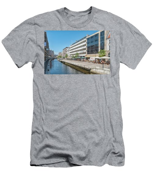 Men's T-Shirt (Slim Fit) featuring the photograph Aarhus Canal Activity by Antony McAulay