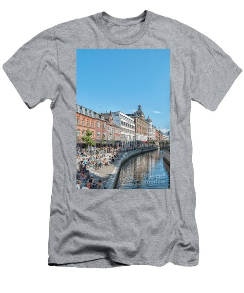 Men's T-Shirt (Slim Fit) featuring the photograph Aarhus Summertime Canal Scene by Antony McAulay