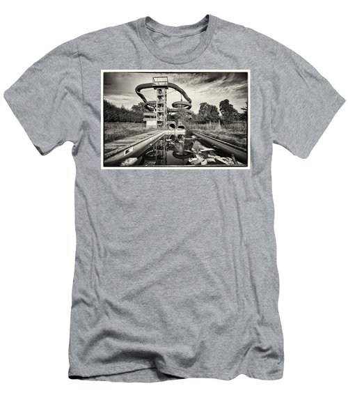 Men's T-Shirt (Slim Fit) featuring the photograph Lets Have A Splash - Abandoned Water Park by Dirk Ercken
