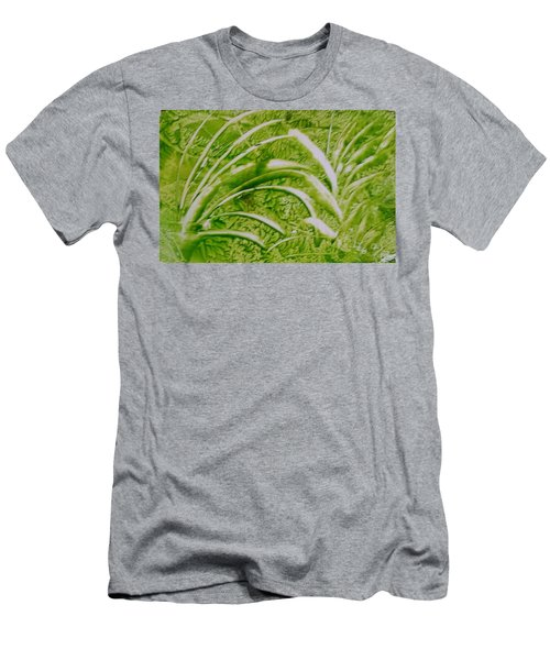 Abstract Green And White Leaves And Grass Men's T-Shirt (Athletic Fit)
