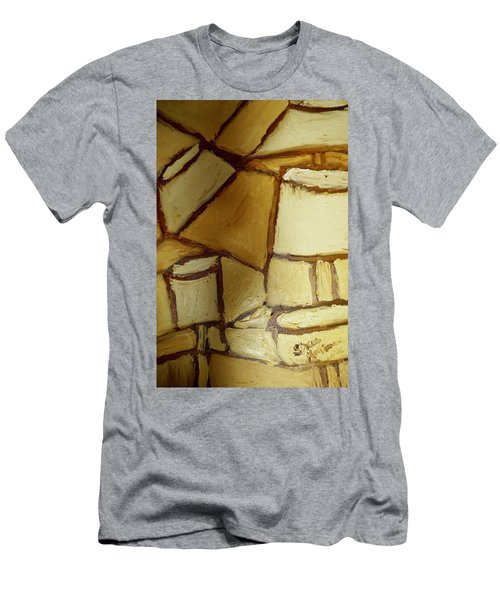 Men's T-Shirt (Slim Fit) featuring the painting Abstract Lamp #1 by Shea Holliman