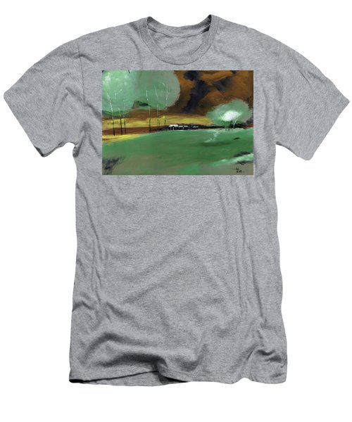 Men's T-Shirt (Slim Fit) featuring the painting Abstract Landscape by Anil Nene