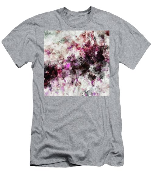 Men's T-Shirt (Slim Fit) featuring the painting Abstract Landscape Painting In Purple And Pink Tones by Ayse Deniz