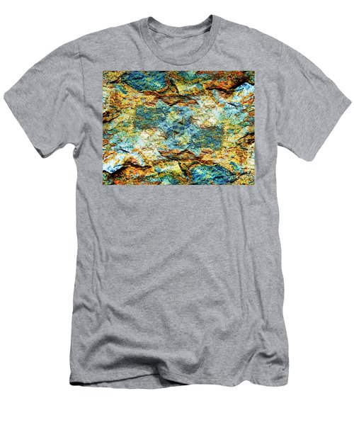 Abstract Nature Tropical Beach Rock Blue Yellow And Orange Macro Photo 472 Men's T-Shirt (Athletic Fit)