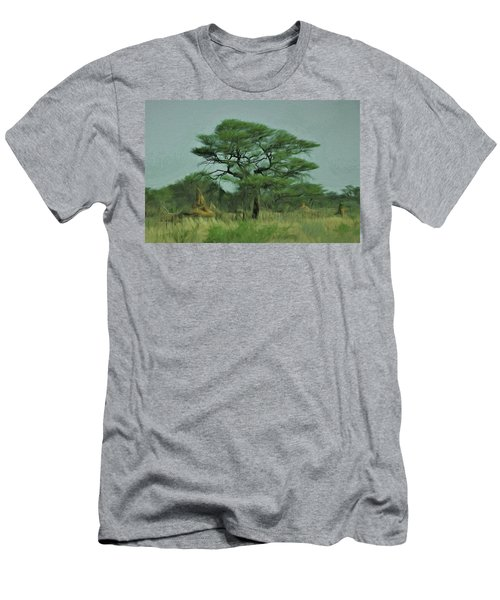 Men's T-Shirt (Slim Fit) featuring the digital art Acacia Tree And Termite Hills by Ernie Echols