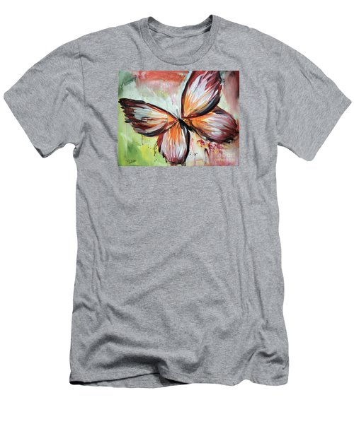 Men's T-Shirt (Slim Fit) featuring the painting Acrylic Butterfly by Tom Riggs
