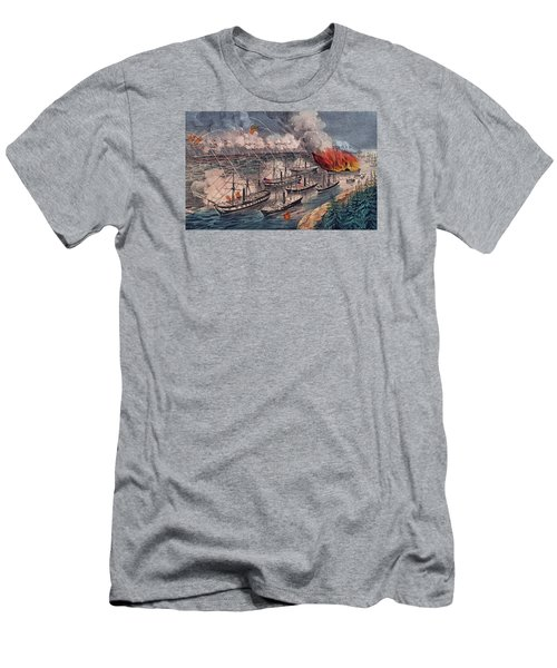 Admiral Farragut's Fleet Engaging The Rebel Batteries At Port Hudson Men's T-Shirt (Athletic Fit)