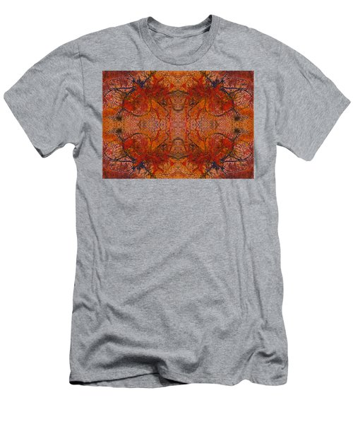 Aflame With Flower Quad Hotwaxed Version Of Acrylic/watercolour Men's T-Shirt (Athletic Fit)