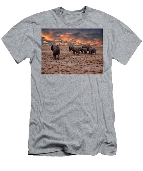 Men's T-Shirt (Athletic Fit) featuring the photograph African Elephants by Anthony Dezenzio