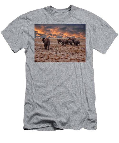 African Elephants Men's T-Shirt (Athletic Fit)