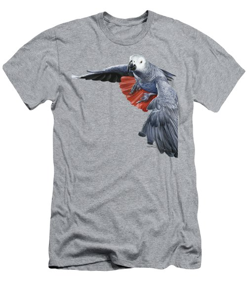 African Grey Parrot Flying Men's T-Shirt (Slim Fit) by Owen Bell