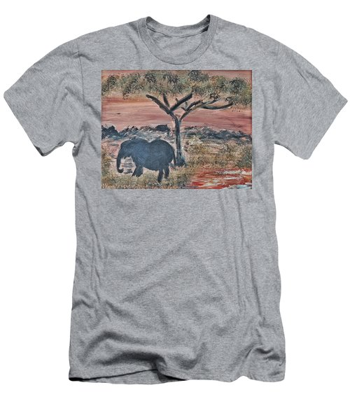 Men's T-Shirt (Slim Fit) featuring the painting African Landscape With Elephant And Banya Tree At Watering Hole With Mountain And Sunset Grasses Shr by MendyZ