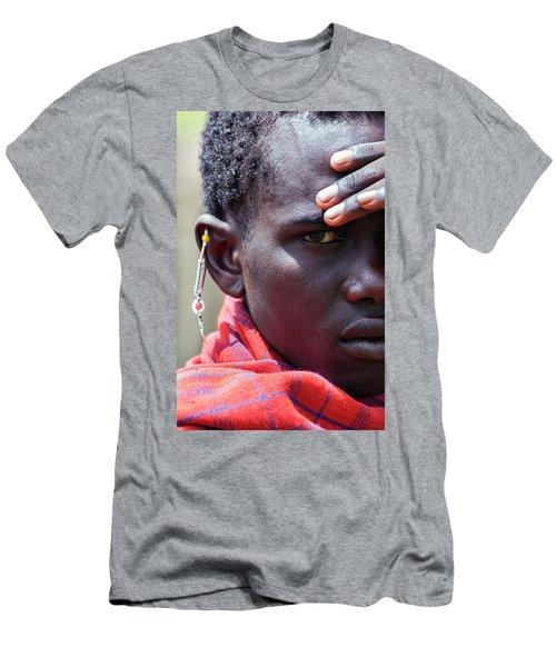African Maasai Warrior Men's T-Shirt (Slim Fit) by Amyn Nasser