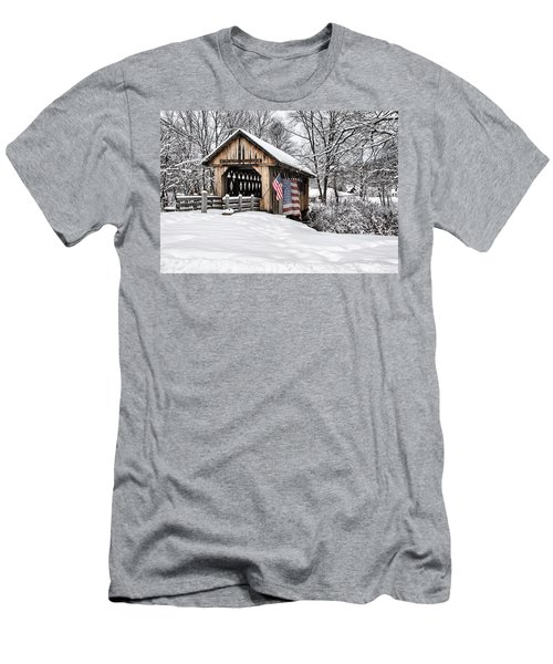 After A Winter Snow Storm Cilleyville Covered Bridge  Men's T-Shirt (Athletic Fit)