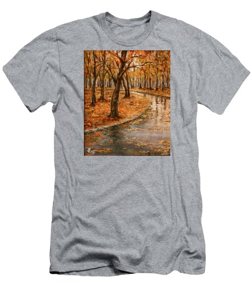 After Rain,walk In The Central Park Men's T-Shirt (Slim Fit) by Vali Irina Ciobanu