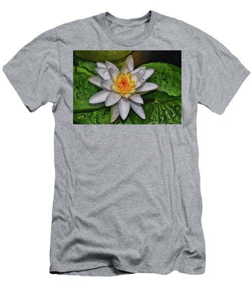 Men's T-Shirt (Slim Fit) featuring the photograph After The Rain - Water Lily 003 by George Bostian