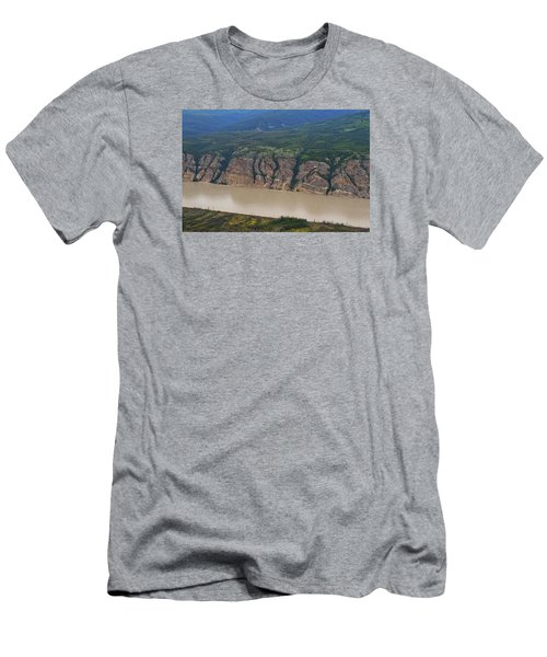Airplane Flying Over The Yukon River Men's T-Shirt (Athletic Fit)