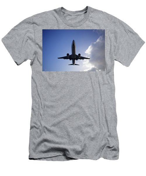 Airplane Landing Men's T-Shirt (Slim Fit) by Teemu Tretjakov