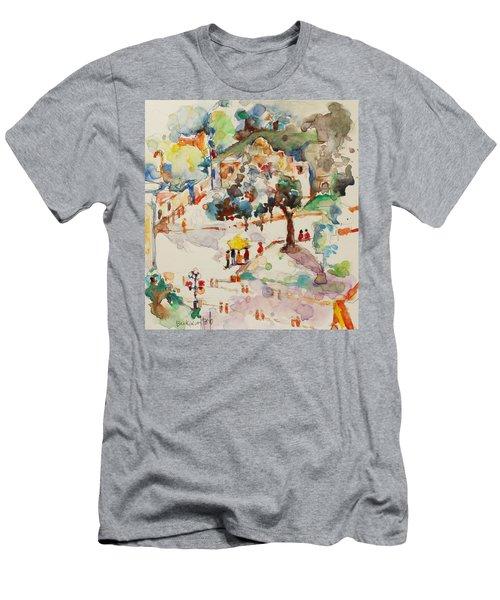 Alamo From Hotel Window Men's T-Shirt (Slim Fit) by Becky Kim