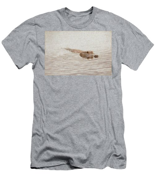 Men's T-Shirt (Athletic Fit) featuring the photograph Alligator Waiting In The Water by Dan Friend