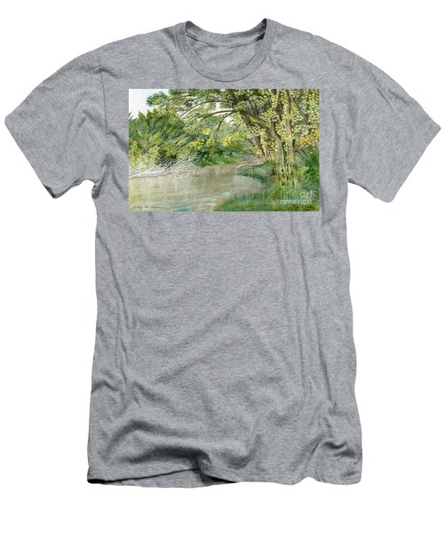 Men's T-Shirt (Slim Fit) featuring the painting Along The Susquehanna by Melly Terpening