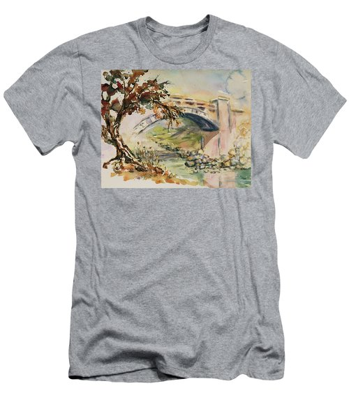 Men's T-Shirt (Athletic Fit) featuring the painting Alum Rock Park California Landscape 5 by Xueling Zou