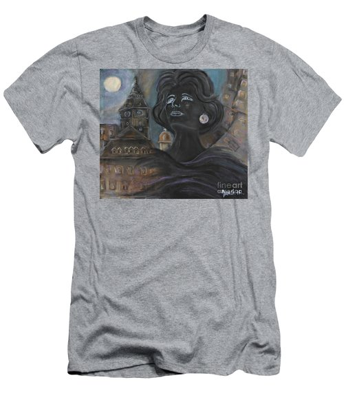 Men's T-Shirt (Slim Fit) featuring the painting Amalia Rodrigues Tribute by AmaS Art