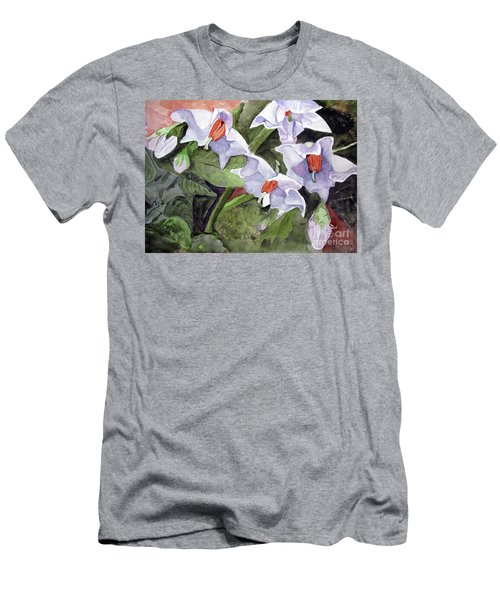 Amanda's Blue Potato Flowers Men's T-Shirt (Athletic Fit)