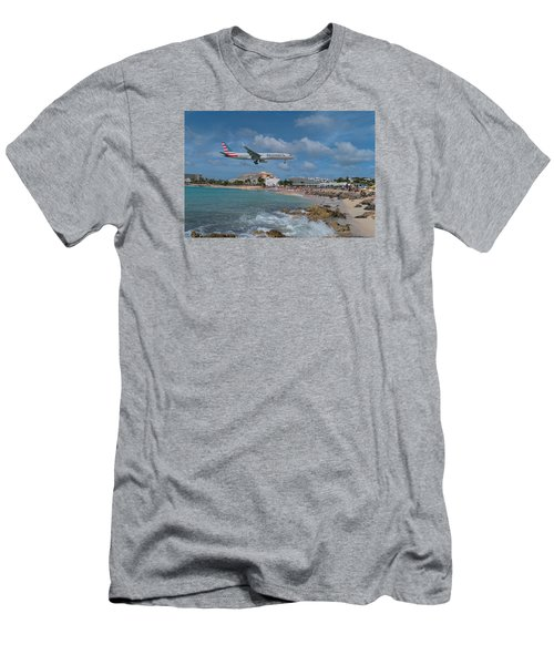 American Airlines Landing At St. Maarten Airport Men's T-Shirt (Slim Fit) by David Gleeson