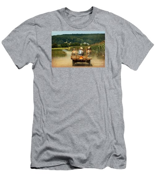 Amish Farmer Three Horses Men's T-Shirt (Athletic Fit)