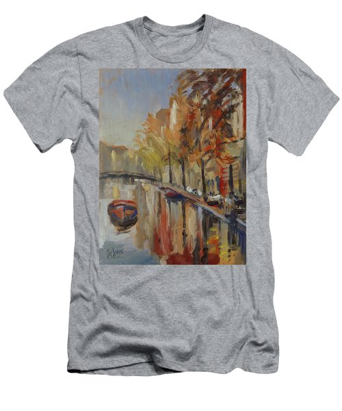 Amsterdam Autumn With Boat Men's T-Shirt (Athletic Fit)