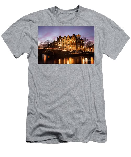 Men's T-Shirt (Athletic Fit) featuring the photograph Amsterdam Canal Houses With Reflection At Dusk by IPics Photography