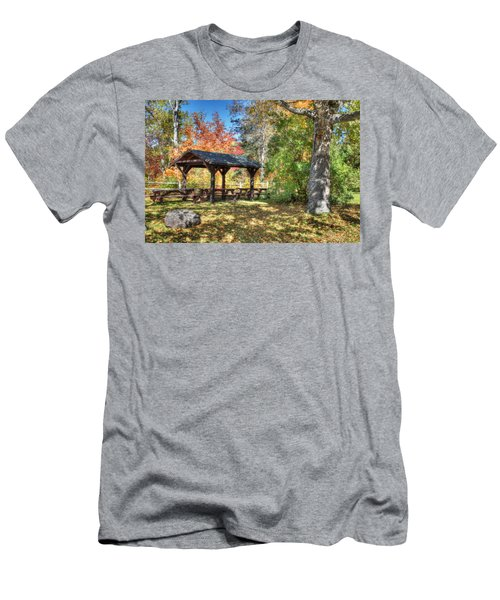 Men's T-Shirt (Slim Fit) featuring the photograph An Autumn Picnic In Maine by Shelley Neff