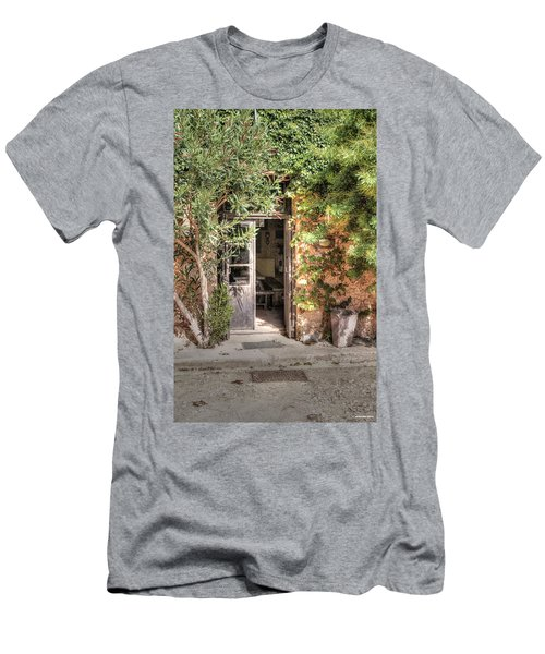 Men's T-Shirt (Slim Fit) featuring the photograph An Entrance In Santorini by Tom Prendergast