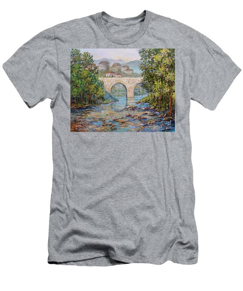 Ancient Bridge Men's T-Shirt (Slim Fit) by Lou Ann Bagnall