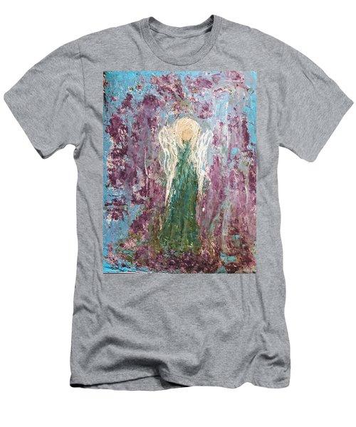 Angel Draped In Hydrangeas Men's T-Shirt (Athletic Fit)