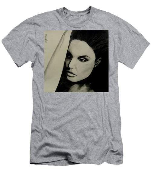 Men's T-Shirt (Athletic Fit) featuring the drawing Angelina by Michelle Dallocchio