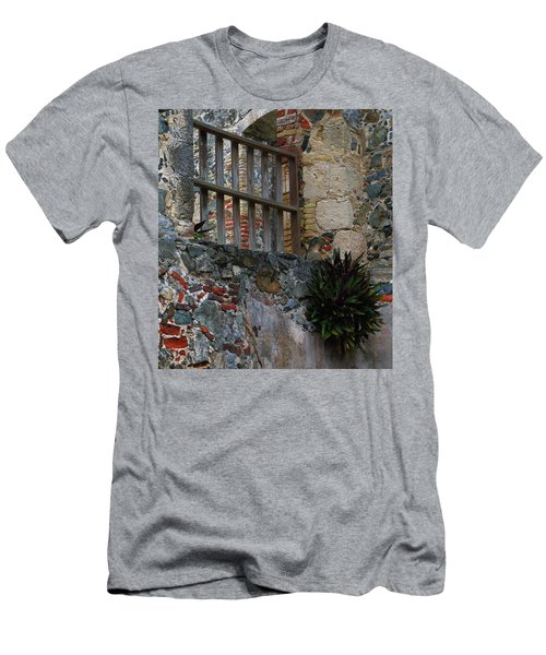 Men's T-Shirt (Slim Fit) featuring the photograph Annaberg Ruin Brickwork At U.s. Virgin Islands National Park by Jetson Nguyen