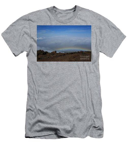 Anuenue - Rainbow At The Ahinahina Ahu Haleakala Sunrise Maui Hawaii Men's T-Shirt (Slim Fit) by Sharon Mau