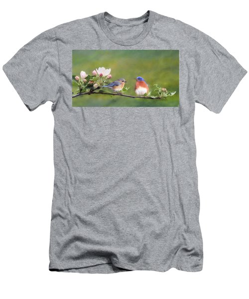 Apple Blossoms And Bluebirds Men's T-Shirt (Athletic Fit)