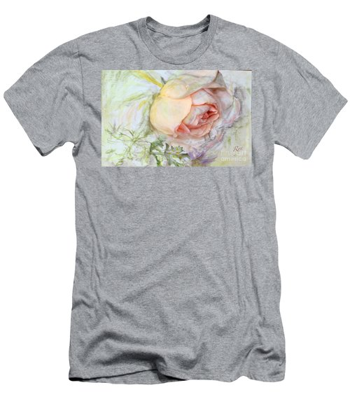 Men's T-Shirt (Athletic Fit) featuring the painting Apricot Nectar Rose With Michaelmas Daisy by Ryn Shell